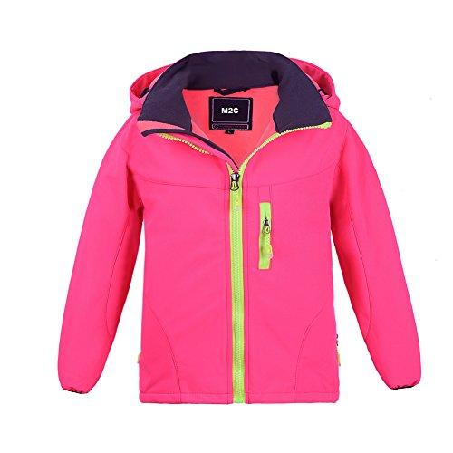 M2C Girls Hooded Waterproof Windbreaker Fleece Lined Softshell Jacket 5T Pink ()