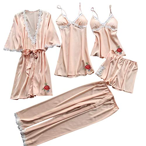 RAINED-Women Silk Pajamas Set Sexy Lace Lingerie Nightwear Underwear Babydoll Sleepwear Dress 5PC Suit