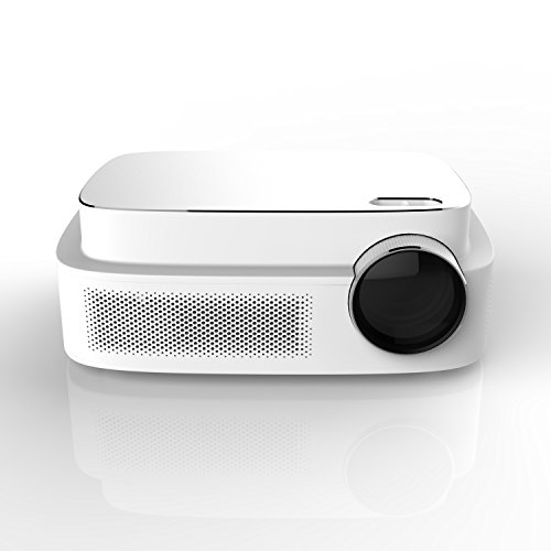 Erisan Q7 LED Video Projector, 450 ANSI lumens, 1280x800 Resolution, Support 1080P Full-HD, Hifi Speaker, Quieter Fan, Games, Multimedia Home Theater Party (Ultra High Resolution Dual Beam)