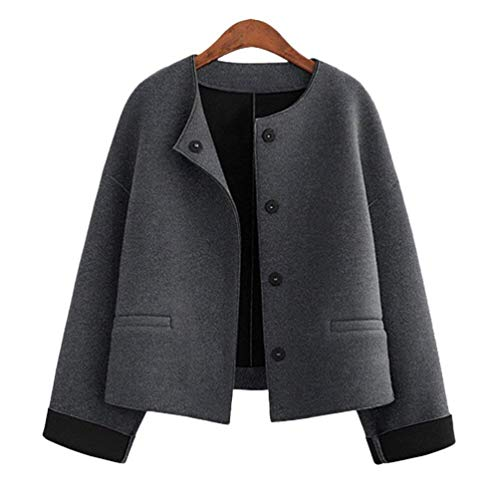 Fashion Casual Donna Giaccone Di Outerwear Coat Fit Bottoni Slim Ragazza Grau Chiusura Moda Cappotto Breasted Giacca Single Autunno Manica Colore Primaverile Hipster Puro Lunga vnxCwvq1zd