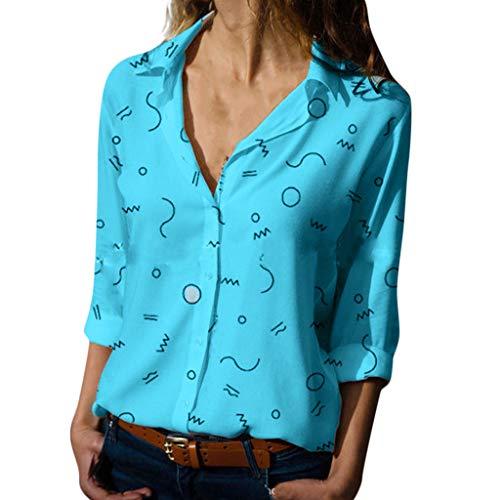 - ANJUNIE Women's Chiffon Print Blouses Casual Long Sleeve Botton Shirt V Neck Tops(Blue,XL)