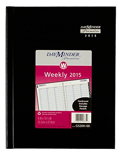 DayMinder Premiere Weekly Planner, Hardcover, 8 x 11 Inch Page Size, Black (G520H-00)