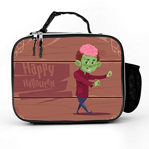 (Uclipers PU Leather Lunch Bag For Women, Men & Kids Cute Kid Wear Zombie Costume Happy Halloween Lunch Box Washable With Extra Pocket Zippers)