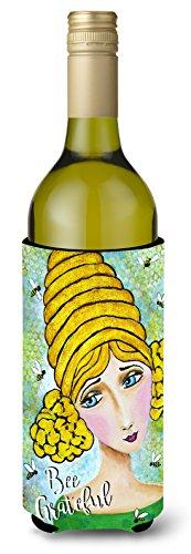 Caroline's Treasures VHA3008LITERK Bee Grateful Girl With Beehive Wine Bottle Koozie Hugger, 750ml, Multicolor