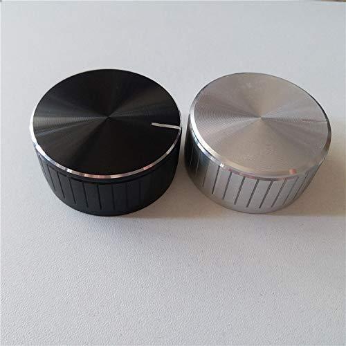 - Lysee 5pcs aluminum plastic cap knob potentiometer knob cap 46226.4mm black D shaft Thermostat knob cap oven electrical accessories - (Color: Silver)