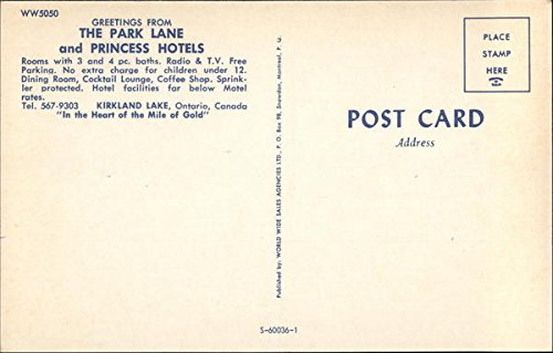 The Park Lane and Princess Hotels Kirkland Lake, Ontario Canada Original Vintage Postcard at Amazons Entertainment Collectibles Store