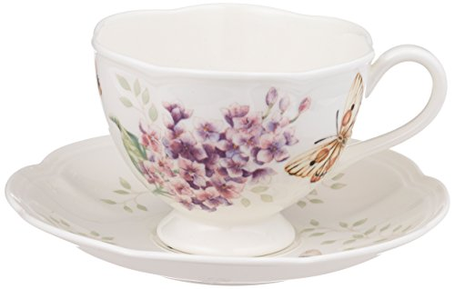 Lenox Butterfly Meadow Orange Sulphur 8-Ounce Cup and Saucer Set ()