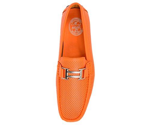 Mocassino Casual Da Uomo Traforato Mocassino Casual Da Uomo Stile Autista Stile Harry Arancione