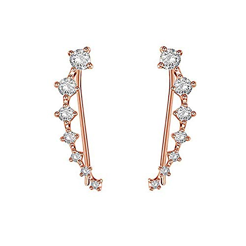 (Ear Crawler Earrings - Fashion Stainless Steel CZ Ear Crawlers Climbers - Women Sweep Up Hoop Ear Cuff Pin Vine Wrap Studs Earrings - 7 Stars Cubic Zirconia Crystal Clip On Stud Jewelry with Fish Hook)