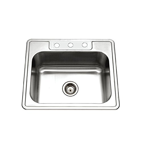 Houzer 2522-9BS3-1 Glowtone Series Topmount Stainless Steel 3-hole Single Bowl Kitchen Sink, 9-Inch Deep ()