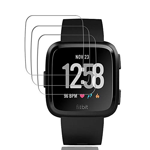 [3-Pack] for Fitbit Versa Screen Protector, Qoolike[9H Hardness] [Crystal Clear] [Scratch Resist] [No-Bubble] Waterproof Tempered Glass Screen Protector for Fitbit Versa Smartwatch