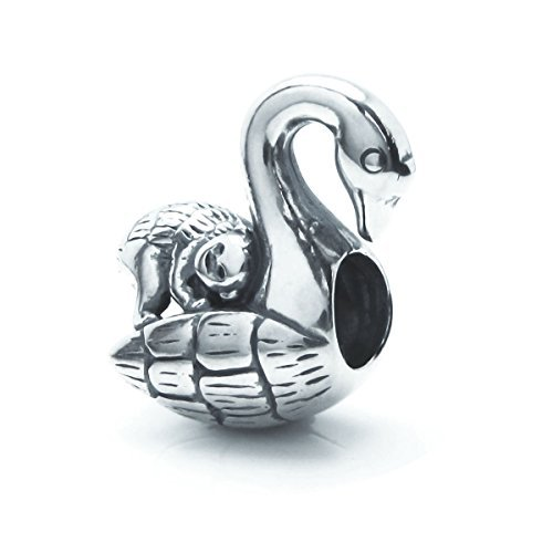 Sterling Silver Monkey Swan Bird Ride European Style Bead Charm by Queenberry
