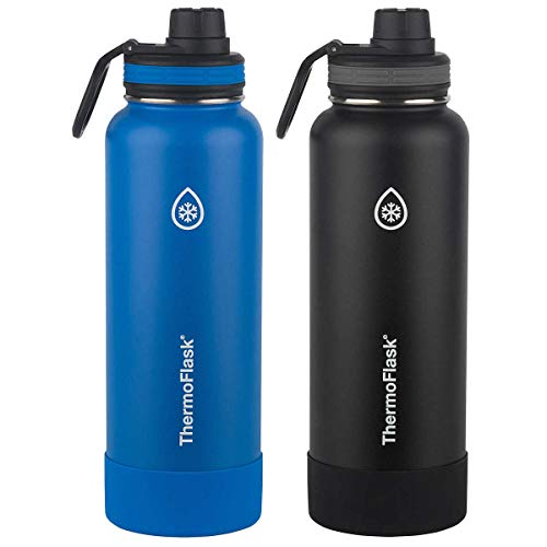 ThermoFlask Stainless Steel 40-Ounce Water Bottle (Light Blue/Black), 2-Piece (Ocean/Grey)