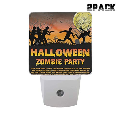 Customizable 2 Pack Plug in Dusk to Dawn Lights Sensor LED Night Lights Wall Lights for Bedroom, Bathroom, Hallway, Stairs and More, Energy Efficient - Halloween Zombie Party -