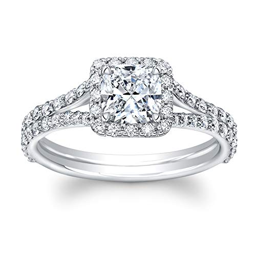 Cushion Cut Diamond Set in 18K White Gold Single Halo Split Shank Pave Ring (Certified AGS 0.72 Center Stone H-I, SI1, 86 Full Cuts .67 TW) (2 Carat Cushion Cut Diamond Actual Size)