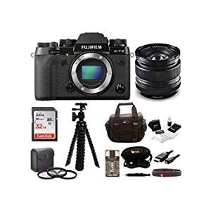Fujifilm X-T2 Mirrorless Digital Camera (Body Only) w/14mm F2.8 R Lens + Focus 32GB Gadget Bag