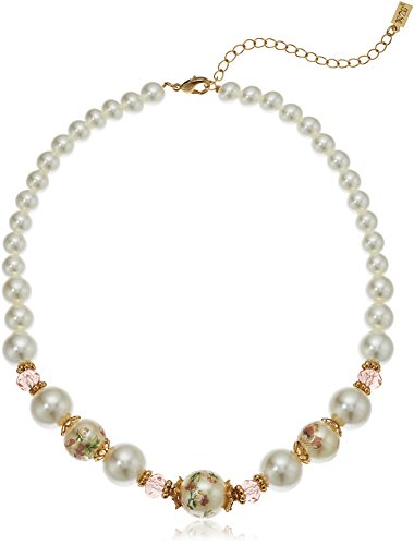 (1928 Jewelry Womens Gold Tone Flower Decal Pearls w Graduated Pearl Strand Necklace, Mutli, 16 )
