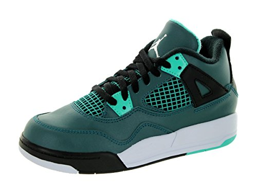 Nike Jordan 4 Retro Bp, Zapatillas de Deporte para Niños Verde / Blanco / Negro (Teal / White-Black-Retro)