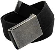 Boys School Uniform Distressed Silver Flip Top Military Buckle with Canvas Web Belt Medium Black