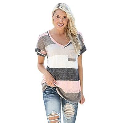 AmyDong Women's T-Shirt, Women's Striped Print Short Sleeve T-Shirt Women Summer Loose Blouse Tops Casual Plus Size(S-5XL)