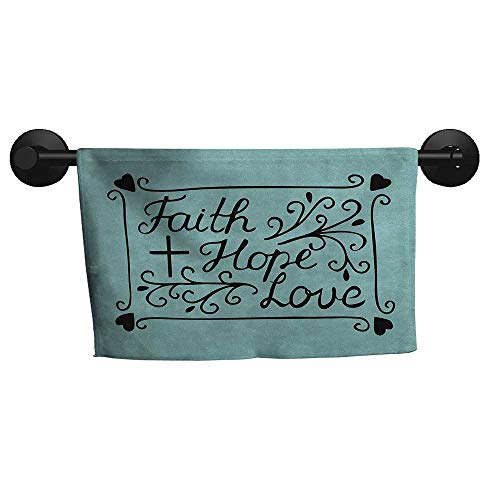 alisoso Hope,Towel Hand Lettering Spiritual Faith Hope Love Quote with Floral Arrangement Hearts Hand Towel for Bathroom W 28
