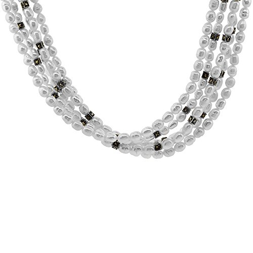 5-Strand Nylon Necklace Sterling Silver Accents, Freshwater Pearls & Marcasite Stones (Sterling Silver Pearl & Marcasite Bracelet)