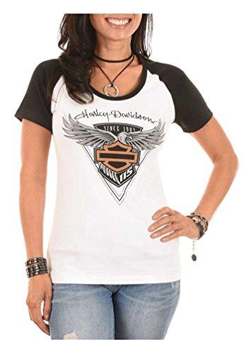 Anniversary Short Sleeve Tee - Harley-Davidson Women's 115th Anniversary Colorblocked Aluminum Black Tee (L)