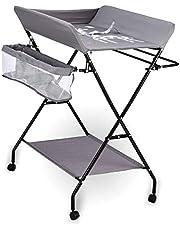 WUPYI2018 skötbord för baby, justerbar skötstation för spädbarn med hjul och förvaring, hopfällbart bad för nyfödda och massagebord skötförvaring