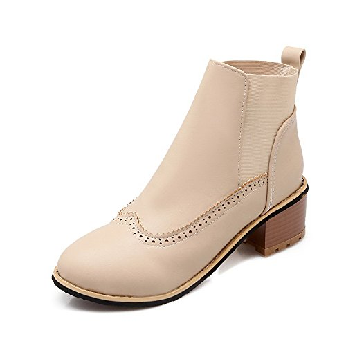 AmoonyFashion Womens Closed Round Toe Kitten-Heels Soft Material Low-Top Solid Boots Beige HKkXnaWH