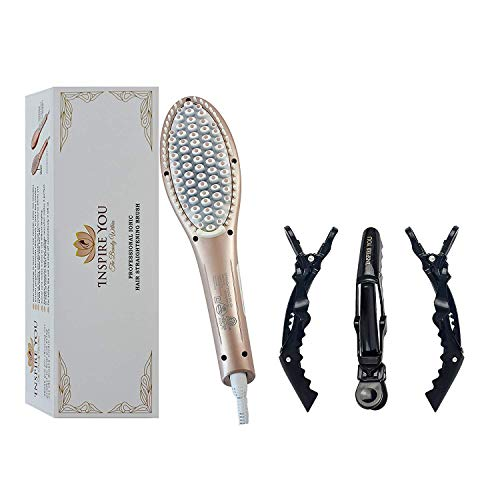 Ionic Professional Brush Straightener, Salon Quality, Hair Clips Included, Anti Scald Protection, Adjustable Temperature, Inspire You Hair Brush, Straightening Brush