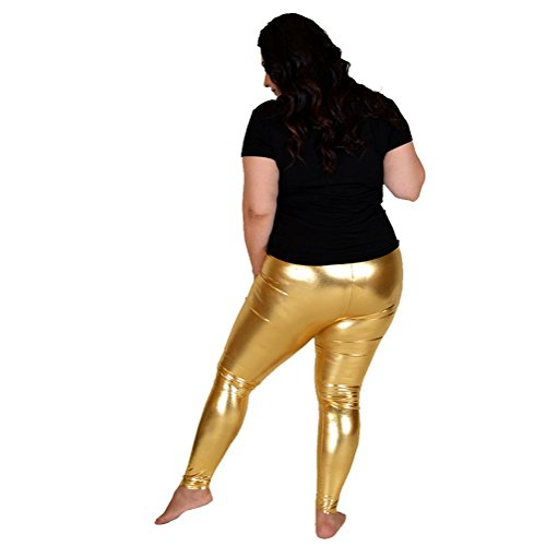 4c437573c8bde Stretch is Comfort Women's Plus Size Shiny Metallic Leggings Gold Large by  Stretch is Comfort (