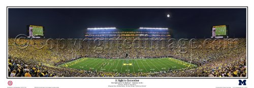 Michigan Night to Remember First Night Game at the Big House - NCAA Collage 13.5x39 Panoramic Poster. Frame Dimensions 15.5x41 Deluxe Double Matt & Black