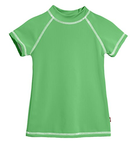 - City Threads SS Little Girls' Rashguard Swimming Suit Swim Tshirt Tee UPF50+ Sun Protection for Beach Pool Summer Fun, SS Elf/White, 6