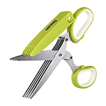 Decen Herb Scissors Cut 7.8cm Stainless Steel Multi Blades Food Cutter Shears with Clean Comb - Office Paper and Herb Cutting (Green)