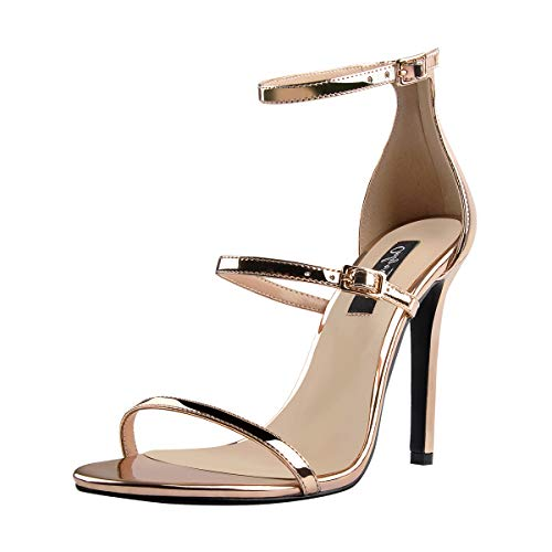 Onlymaker Women's Ankle Strap Stiletto Open Toe Sandals Sexy Triple Strappy High Heel Party Wending Dress Evening Shoes Champagne Gold 9 M US