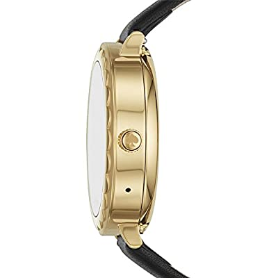 kate spade watches Gold-Tone and Black Leather Scallop Touchscreen Smartwatch from kate spade watches