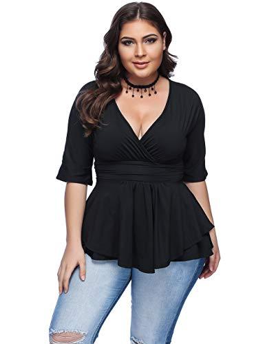 FeelinGirl Women's Plus Size V Neck Summer Tops Empire Waist Half Sleeve T-Shirts Black