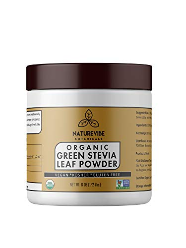 - Organic Green Stevia Leaf Powder (1/2 lb) by Naturevibe Botanicals, Gluten-Free, Raw & Non-GMO (8 Ounces) [Packaging May Vary]