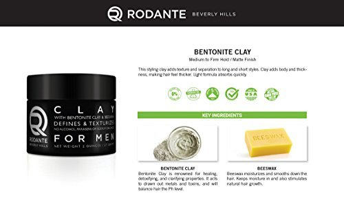 Bentonite Hair Clay Wax Pomade | Rodante for Men | Texture Matte Paste Finished | Beeswax Moisturizer | Detox & PH Balance | No Alcohol & Parabens. Made in USA 2 o by Premium Brand Rodante Beverly Hills for Men (Image #7)