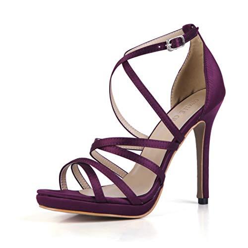 Nupcial Aguja Plataforma Zapatos de Tacon Boda Mujer Purple de Correa Tobillo Elegantes Chau Alto Vestido Sandalias CHMILE de de 1cm Novia Fiesta para pzxORWn