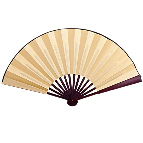 Chinese Style Silk Cloth Blank Folding Fan Wooden Bamboo Antiquity Folding Fan Calligraphy Painting for Wedding,Yellow,10 Inches ()