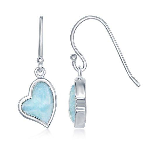 Sterling Silver Natural Larimar Heart Fishhook Earrings