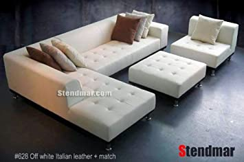 4pc Modern White Genuine Leather Sectional Sofa Chaise Chair Ottoman S4707LW