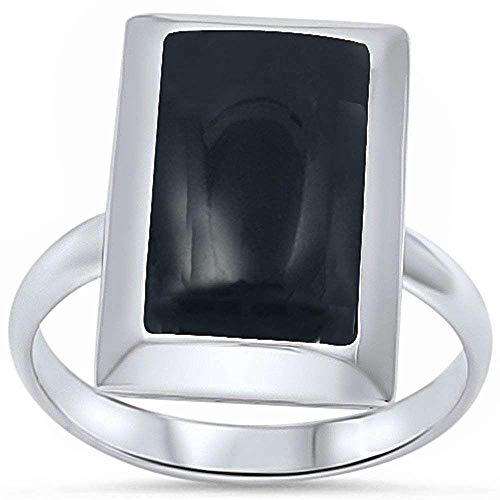 Princess Kylie Synthetic Black Onyx Radiant Shape Ring Sterling Silver Size 5