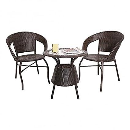 SK Outdoor/balcony/garden/indoor use wicker table chair set of 3 - Black/Dark brown