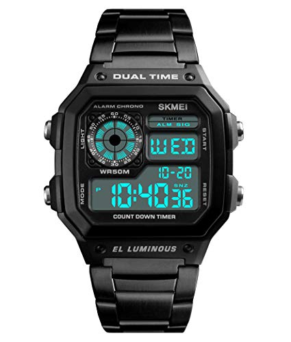 - Men's Multi-function Dual-Time Watch; Countdown Alarm Luminous Stainless Steel Band Watch