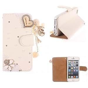 YULIN bling del rhinestone hecho a mano caja de cuero de diseño en forma de corazón para el iphone 5/5s