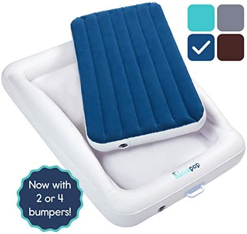 hiccapop Inflatable Toddler Travel Bed with Safety Bumpers   Portable Blow Up Mattress for Kids with Built in Bed Rail - Navy Blue