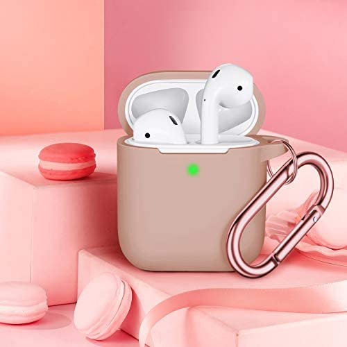Airpods Case Cover, Full Protective Airpods Case Cover Silicone Airpods Case Keychain for Girls and Women, Soft Chargeable Headphone Case with Rose Gold Carabiner for AirPods 2 and 1, Milk Tea 41eR482LKLL