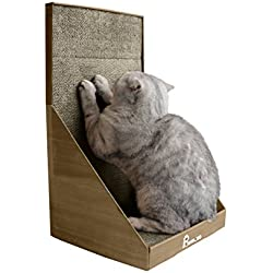 Pawmosa Cat Scratcher, Vertical Cardboard Cats Scratching Post, Lounge Bed as Furniture Protector and Home Décor Include Free Catnip (Walnut)